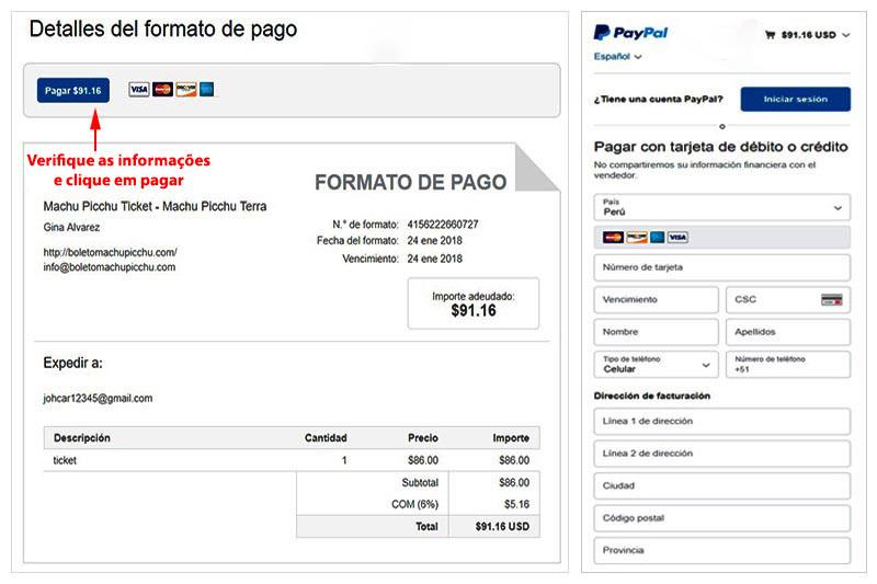 Factura Paypal bilhete Machu Picchu