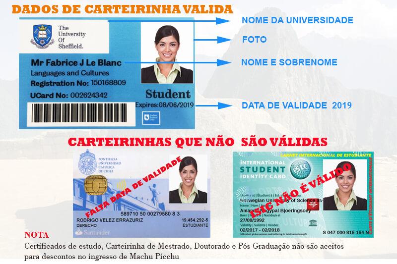 Cartão universitário válido para reservar o seu bilhete Machu Picchu