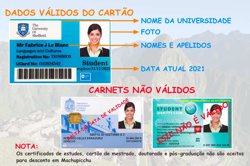 Cartão universitário bilhete Machu Picchu