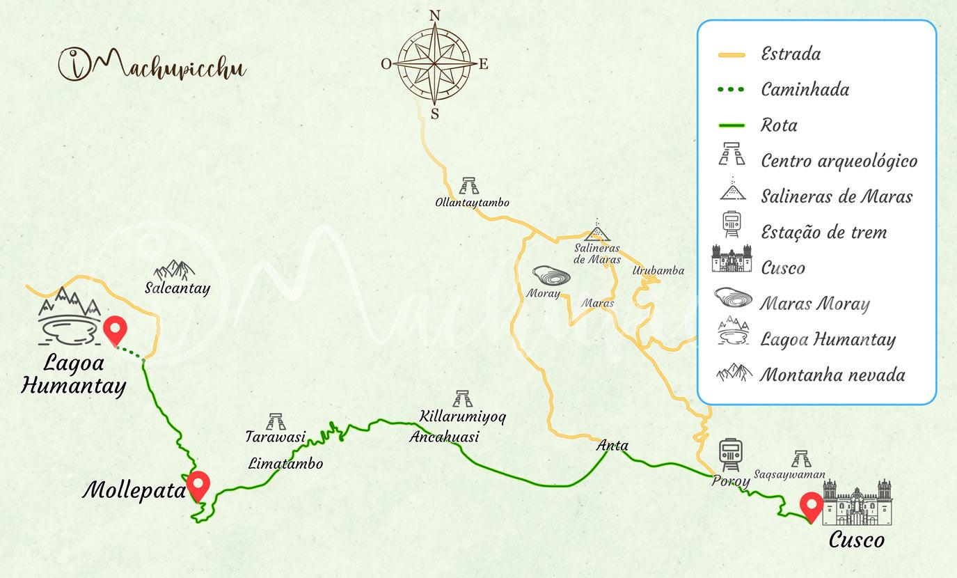 Mapa para chegar à Lagoa Humantay