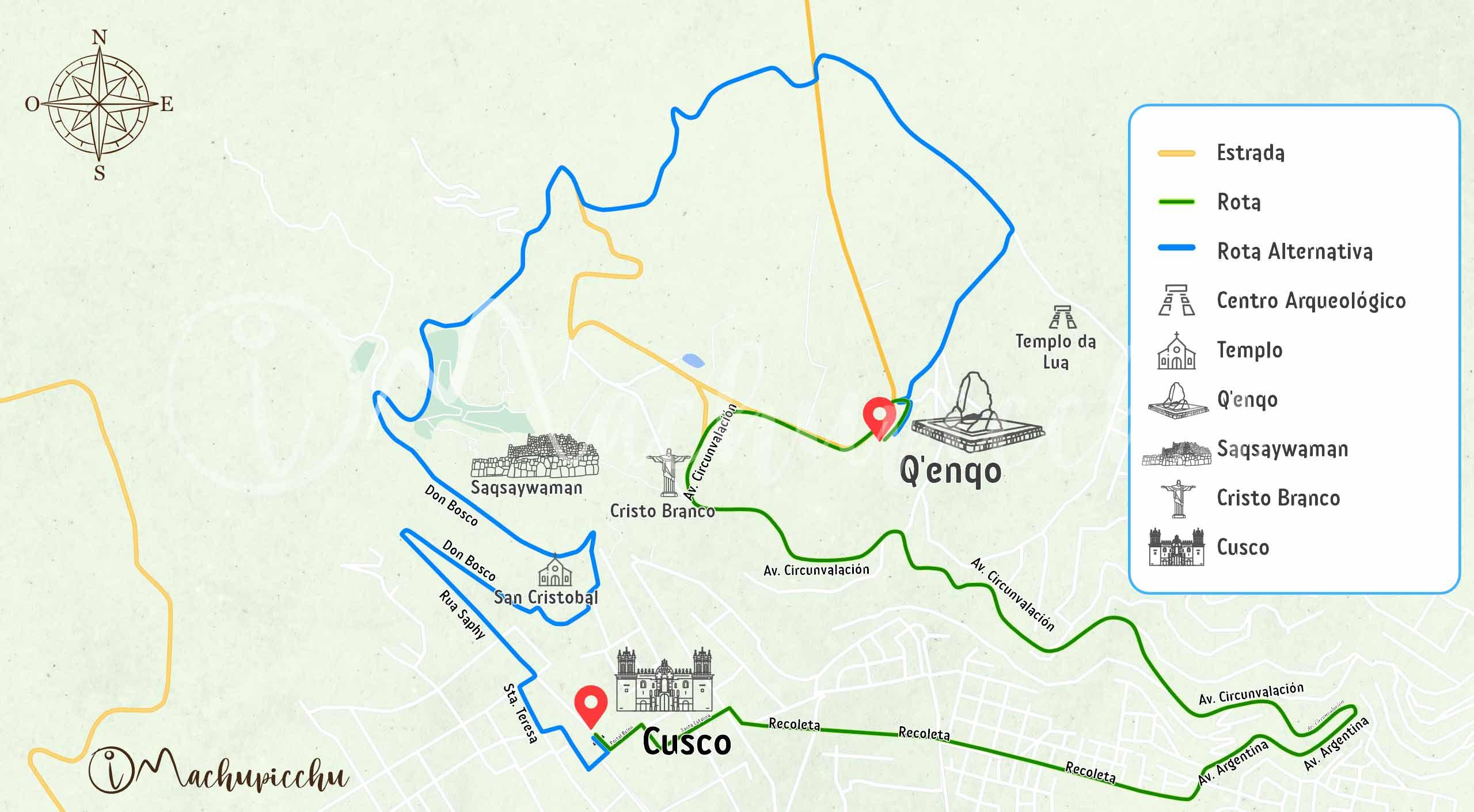 Mapa para chegar a Qenqo