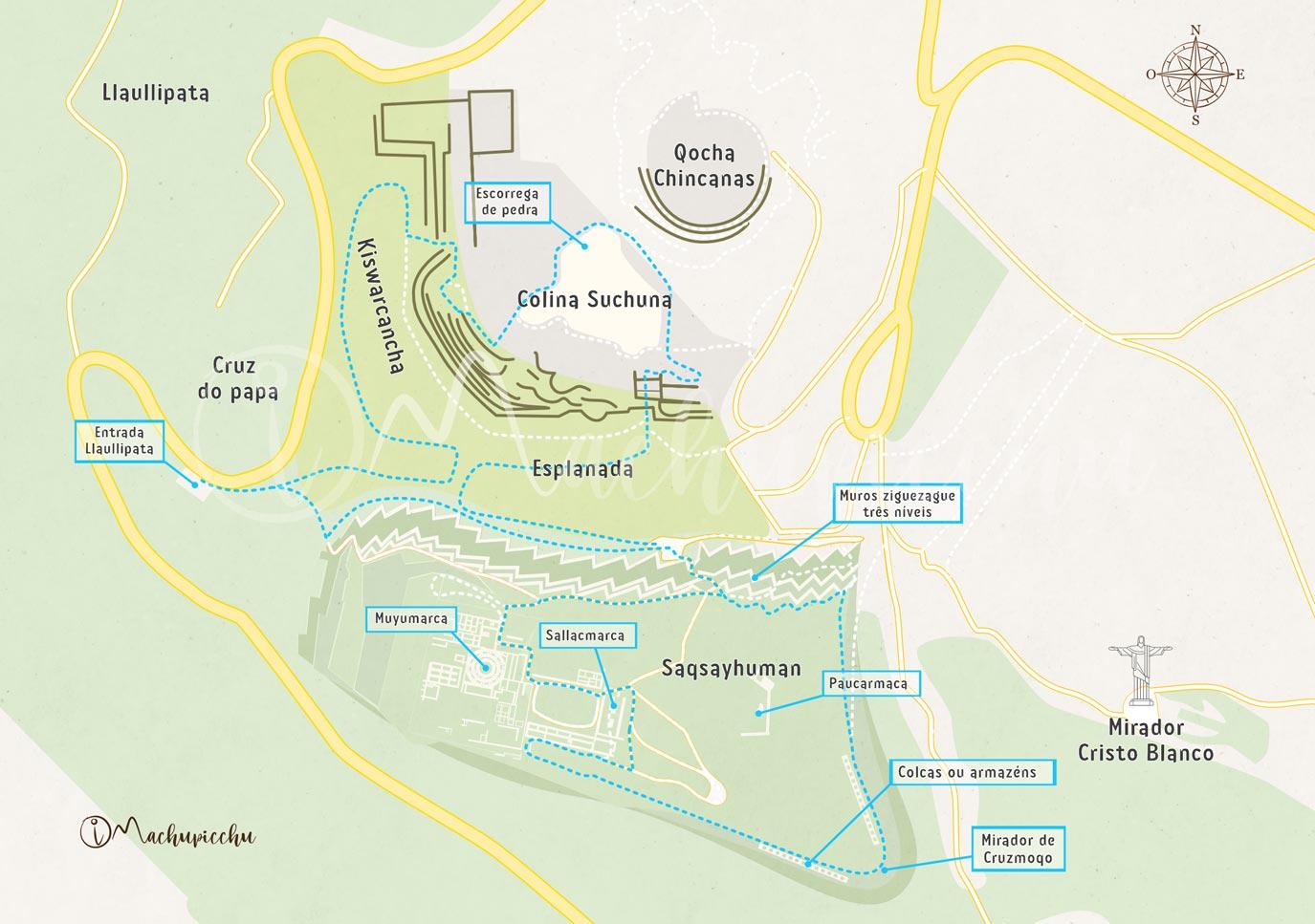 Mapa da rota para Sacsayhuamán