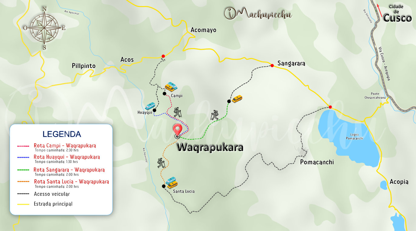 Mapa para chegar a Waqrapukara